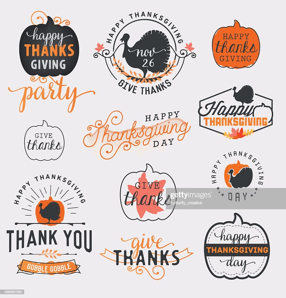 Thanksgiving Day Design Elements Badges and Labels in Vintage Style