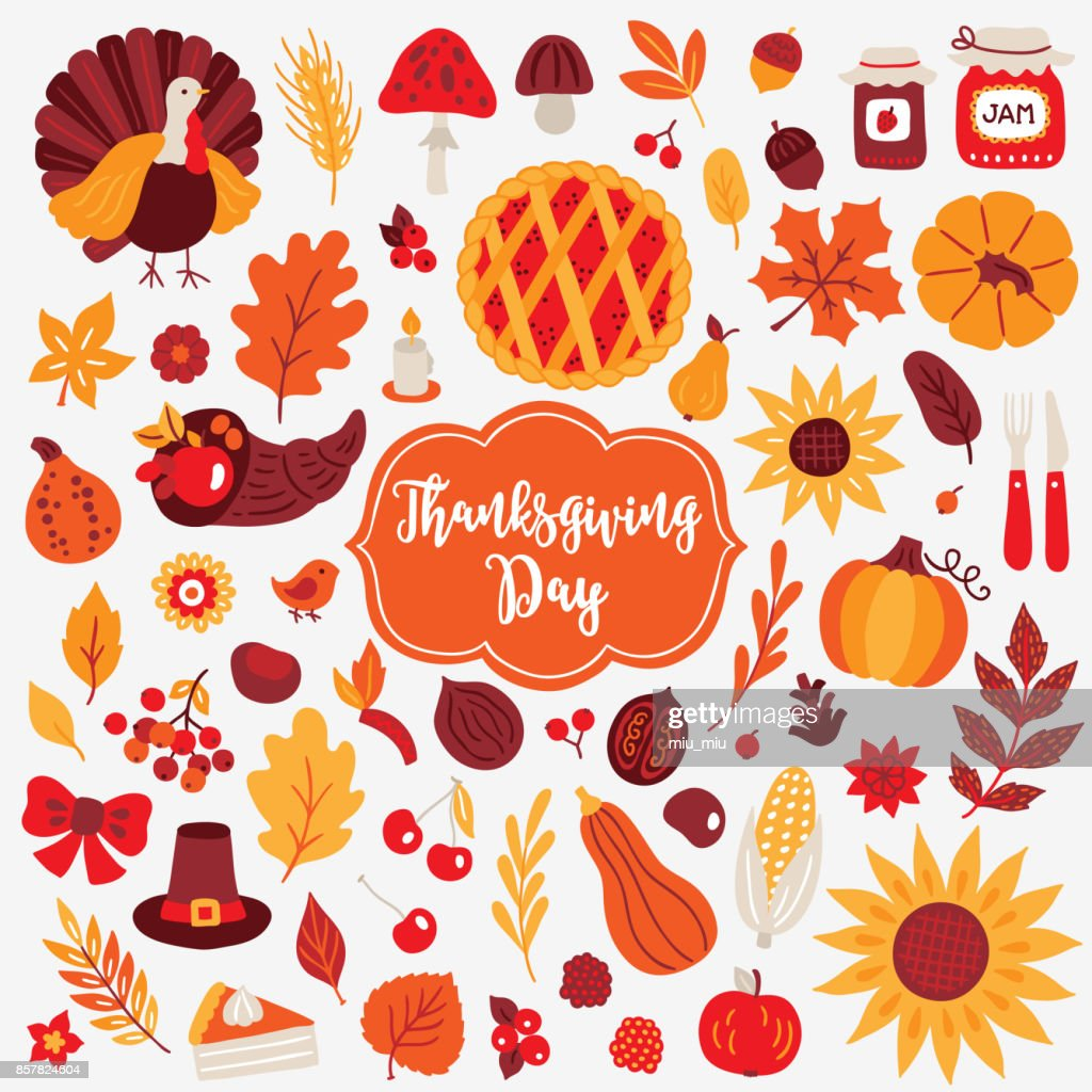 Thanksgiving Day design elements. Turkey, mushroom, acorn, berry, jam, pumpkin