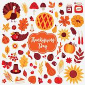 Thanksgiving Day design elements. Turkey, mushroom, acorn, berry, jam, pumpkin