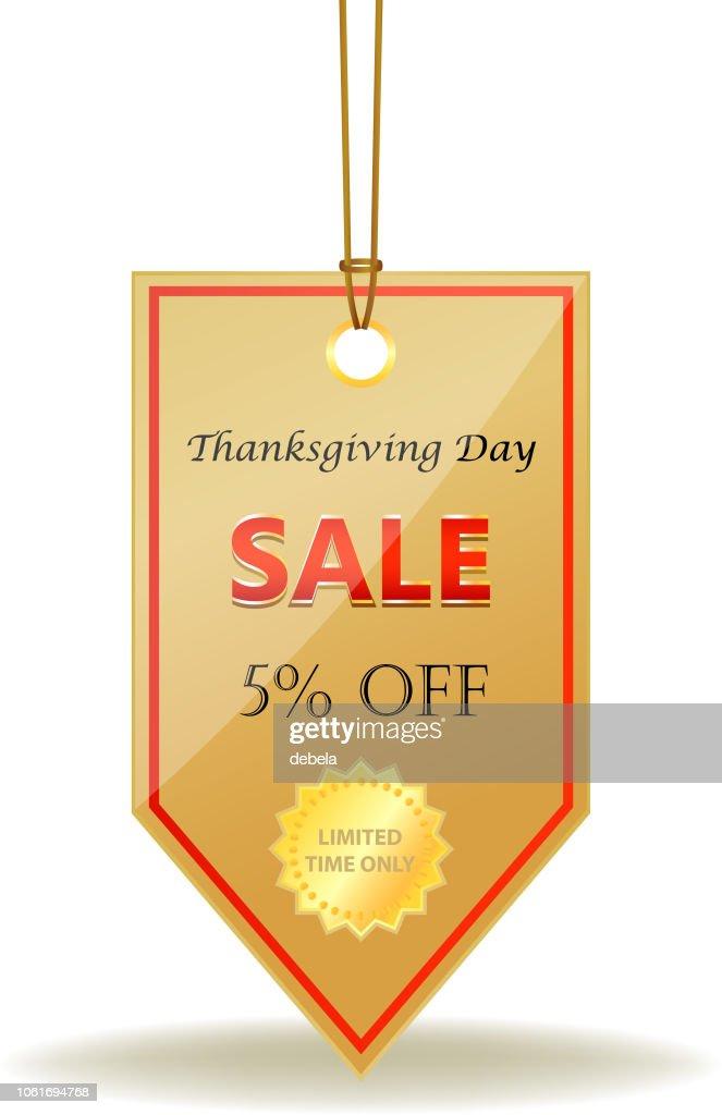 Erntedankfest-fünf Prozent Verkauf glänzend Preisschild an einem Seil : Stock-Illustration