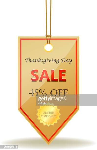 Thanksgiving Day Forty Five Percent Sale Shiny Price Tag On A Rope