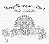 Thanksgiving day greeting card. Various elements for design