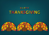 USA Thanksgiving day greeting card with colorful  cute  turkey bird.