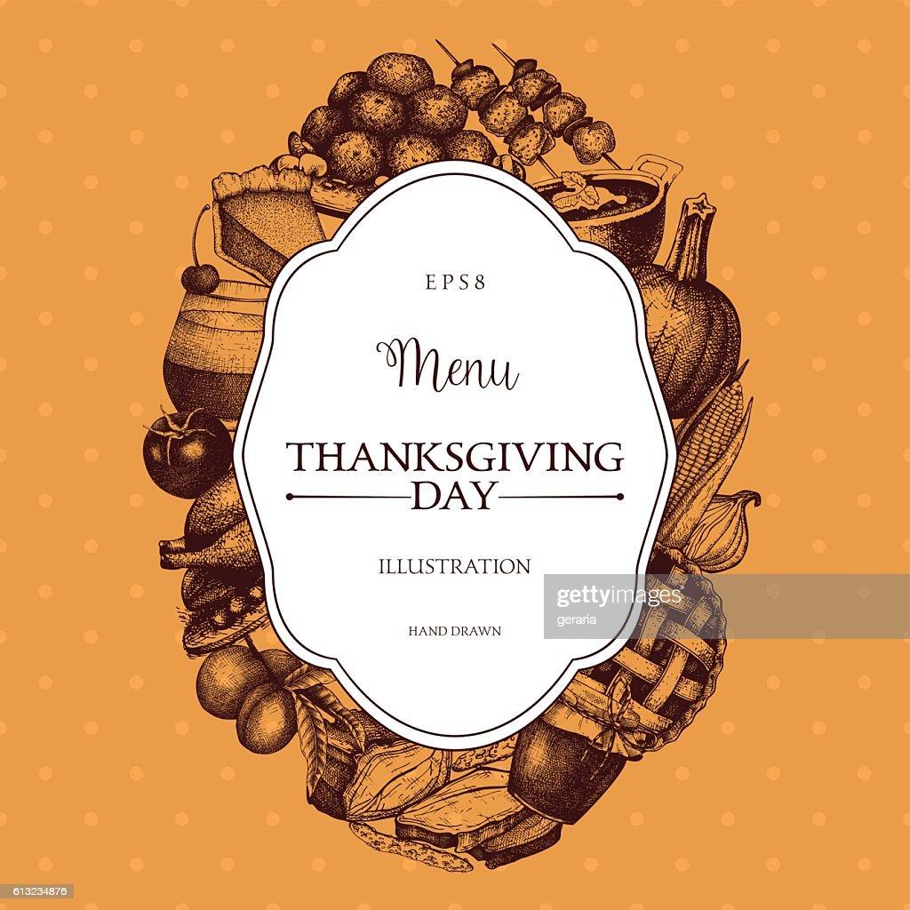 Thanksgiving Day menu design.