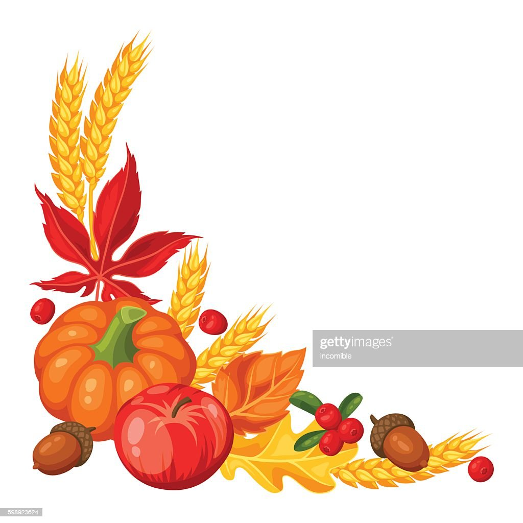 Thanksgiving Day or autumn frame. Decorative element with vegetables and