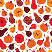 Thanksgiving Day seamless pattern with pumpkins and leaves