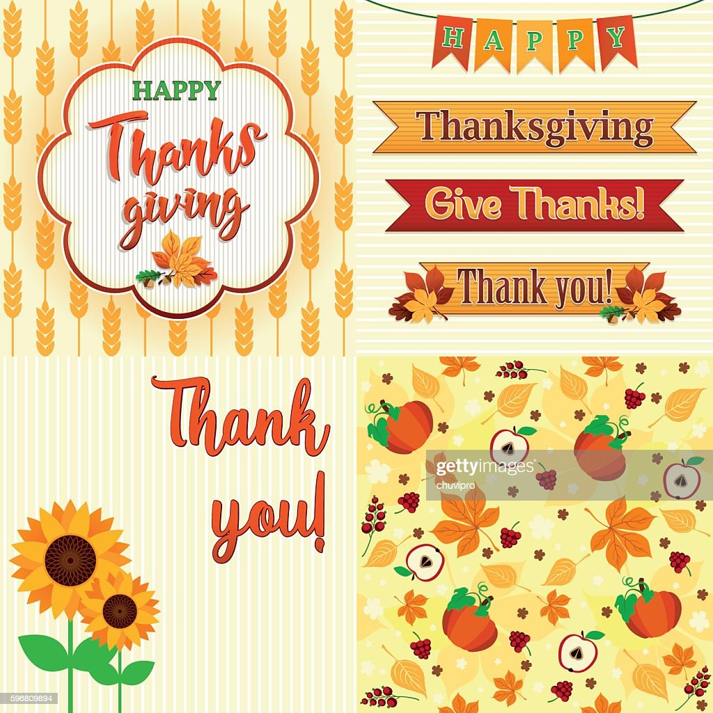 Thanksgiving Day Set of frame, ribbons, titles, pattern and decoration