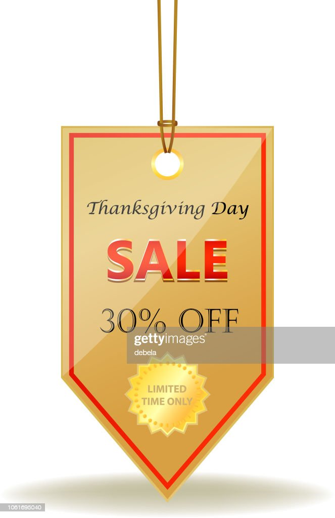 Thanksgiving Day Thirty Percent Sale Shiny Price Tag On A Rope Stock Illustration Getty Images