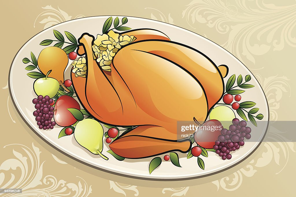 Thanksgiving Dinner Background Vector Art