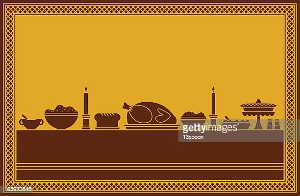 thanksgiving dinner feast - meat pie stock illustrations, clip art, cartoons, & icons