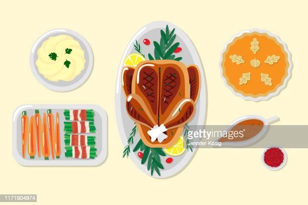 ilustraciones, imágenes clip art, dibujos animados e iconos de stock de ilustraciones de la cena de acción de gracias - pollo asado