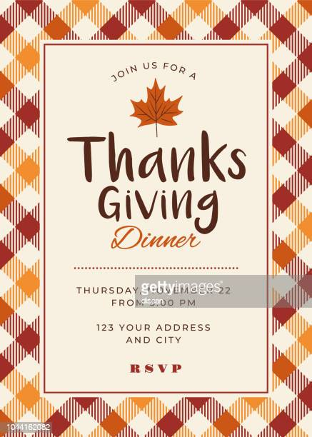 thanksgiving dinner invitation template - thanksgiving holiday stock illustrations