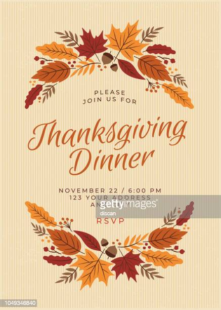 illustrazioni stock, clip art, cartoni animati e icone di tendenza di thanksgiving dinner invitation template - autunno