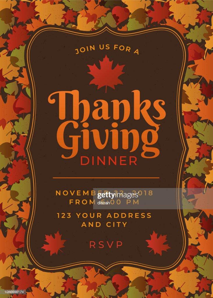 thanksgiving dinner invitation template vector art getty images