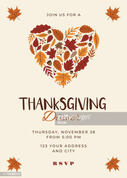 thanksgiving dinner invitation template. - thanksgiving holiday stock illustrations