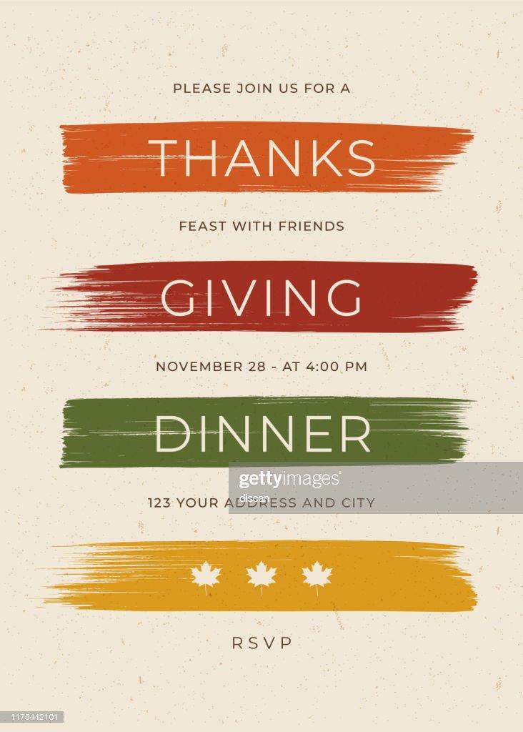 感謝祭のディナー招待テンプレート。 : ストックイラストレーション