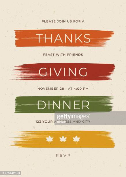 thanksgiving dinner einladung vorlage. - banneranzeige stock-grafiken, -clipart, -cartoons und -symbole