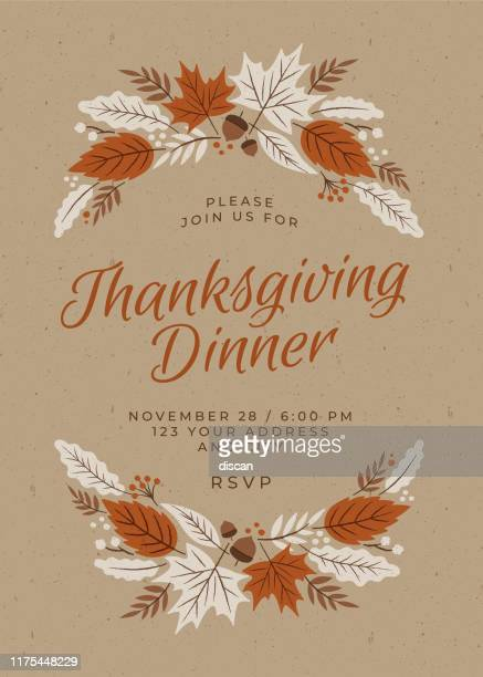 thanksgiving dinner invitation template. - canadian thanksgiving stock illustrations