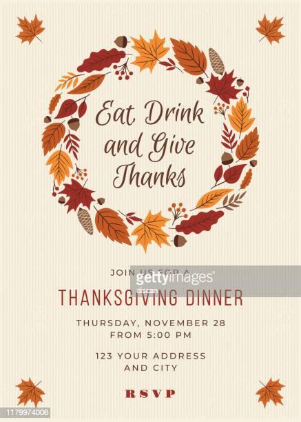 感謝祭のディナー招待テンプレート。 - 十一月点のイラスト素材/クリップアート素材/マンガ素材/アイコン素材