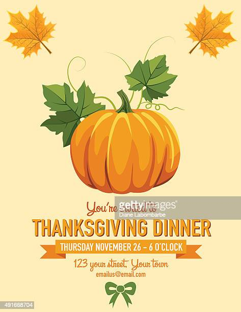 bildbanksillustrationer, clip art samt tecknat material och ikoner med thanksgiving dinner invitation - pumpa