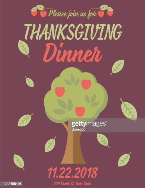 かわいい秋要素と感謝祭の夕食の招待
