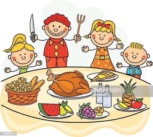 thanksgiving dinner kids - meat pie stock illustrations, clip art, cartoons, & icons
