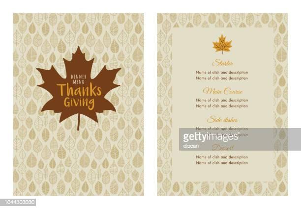thanksgiving dinner menu template - menu stock illustrations
