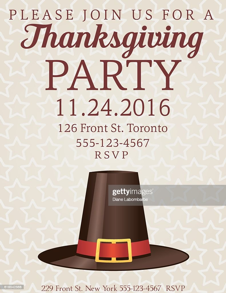 Thanksgiving Dinner Party Invitation Vector Art | Getty Images