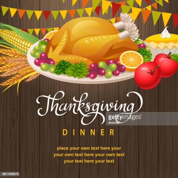 thanksgiving dinner party invitation - meat pie stock illustrations