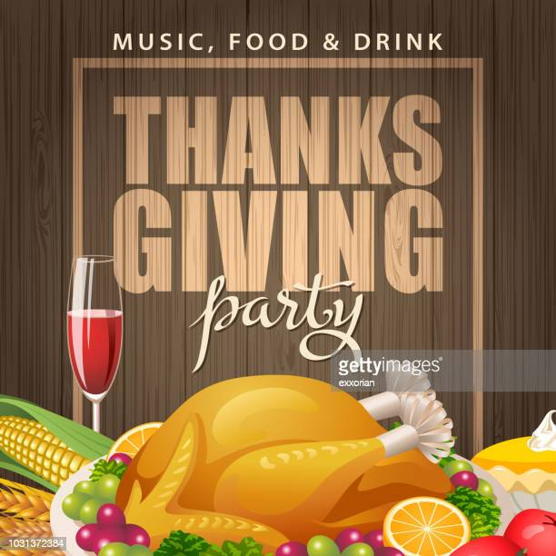 thanksgiving dinner party - meat pie stock illustrations, clip art, cartoons, & icons