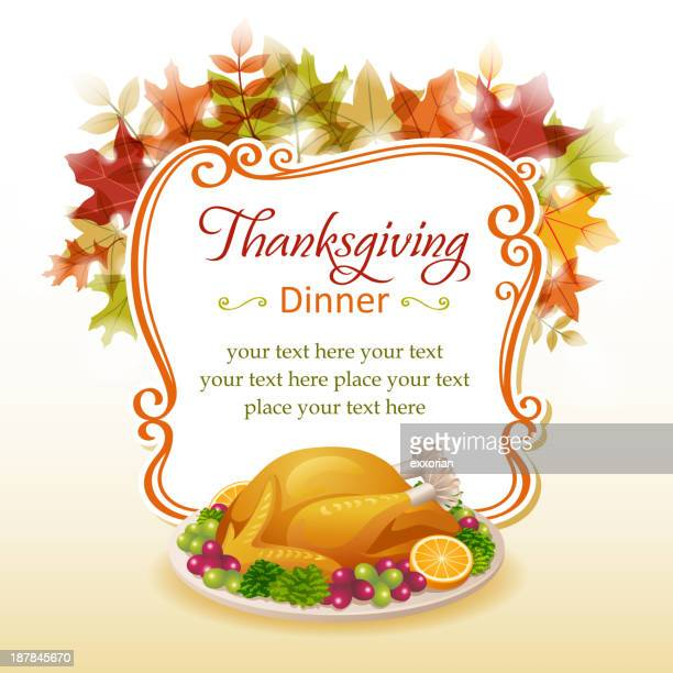 thanksgiving dinner - menu background stock illustrations