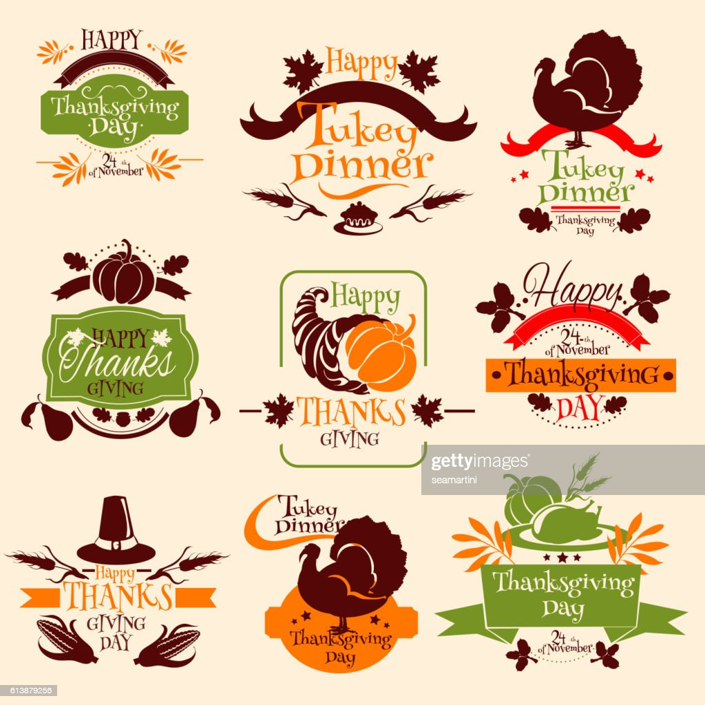 Thanksgiving emblems for greeting card design