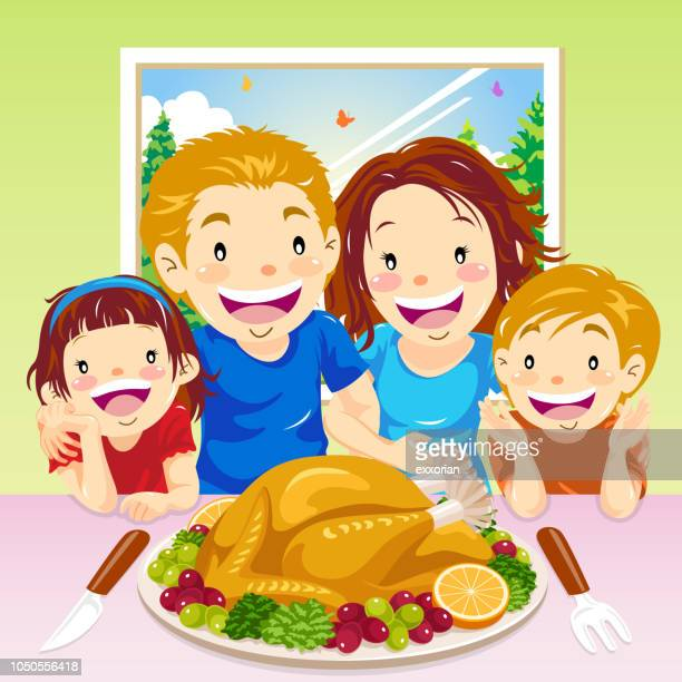 thanksgiving family dinner - social grace stock illustrations
