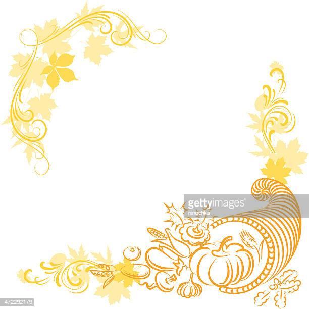 感謝祭のフレーム - 豊穣の角点のイラスト素材/クリップアート素材/マンガ素材/アイコン素材
