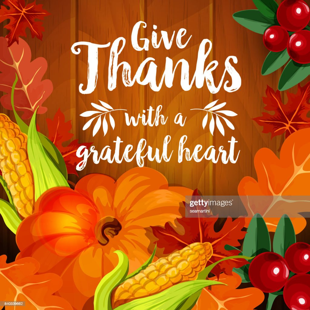 Thanksgiving Greeting Card For Autumn Holiday Design Vector Art