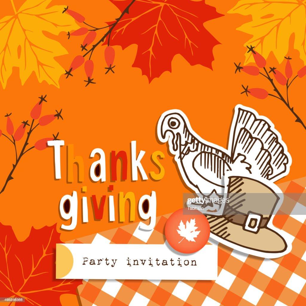 Thanksgiving Greeting Card Invitation Doodle Turkey Hat Autumn