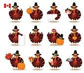 Thanksgiving greeting card with a turkey bird wearing a Pilgrim hat. Set
