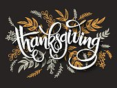 thanksgiving greeting lettering label with doodle brunches and leaves