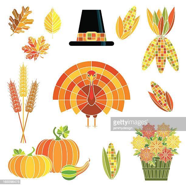 thanksgiving harvest set - corn stock illustrations, clip art, cartoons, & icons