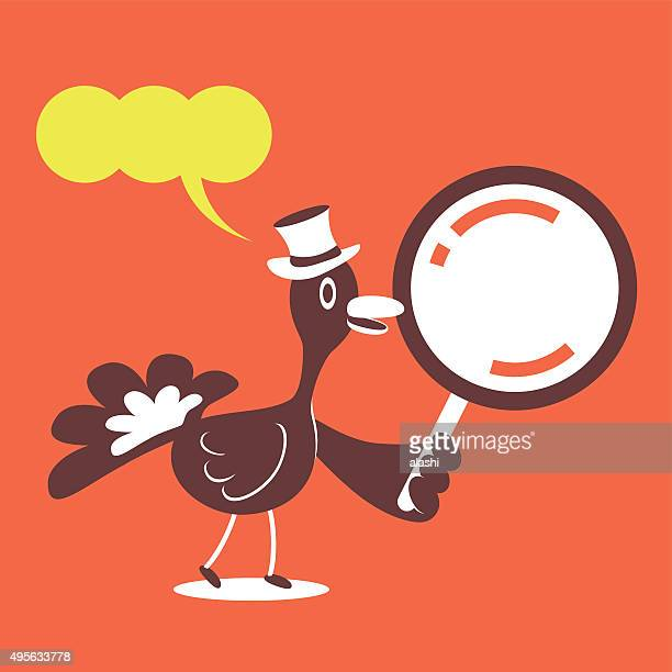 thanksgiving holiday smiling turkey with top hat and magnifying glass - inspector stock illustrations, clip art, cartoons, & icons