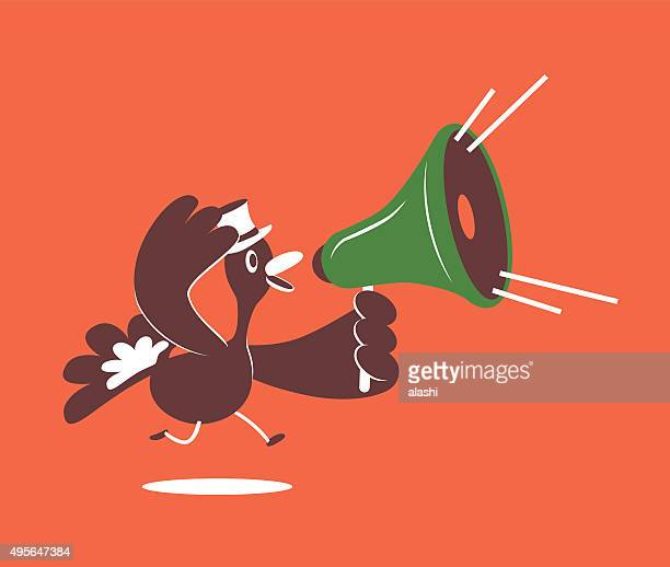 Thanksgiving Holiday Smiling Turkey with Top Hat and Megaphone Running