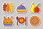 Thanksgiving icon sticker set isolated