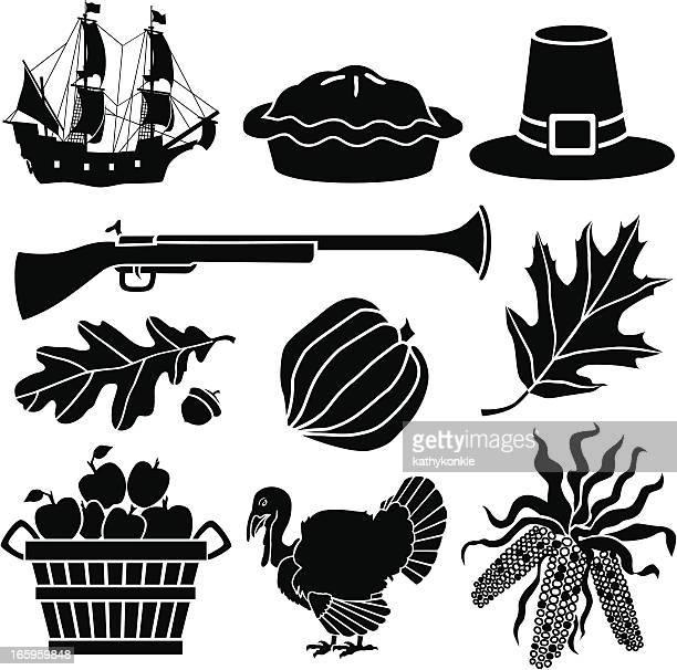 thanksgiving icons - pilgrim stock illustrations, clip art, cartoons, & icons