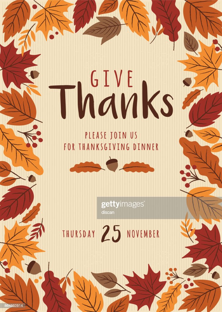Thanksgiving Invitation Template Vector Art Getty Images
