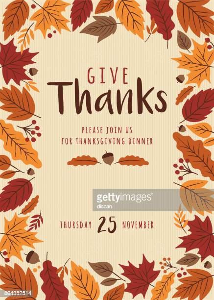 illustrations, cliparts, dessins animés et icônes de modèle invitation de thanksgiving. - thanksgiving