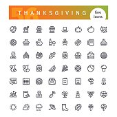 Thanksgiving Line Icons Set