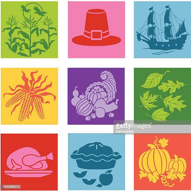 Thanksgiving pop art icons