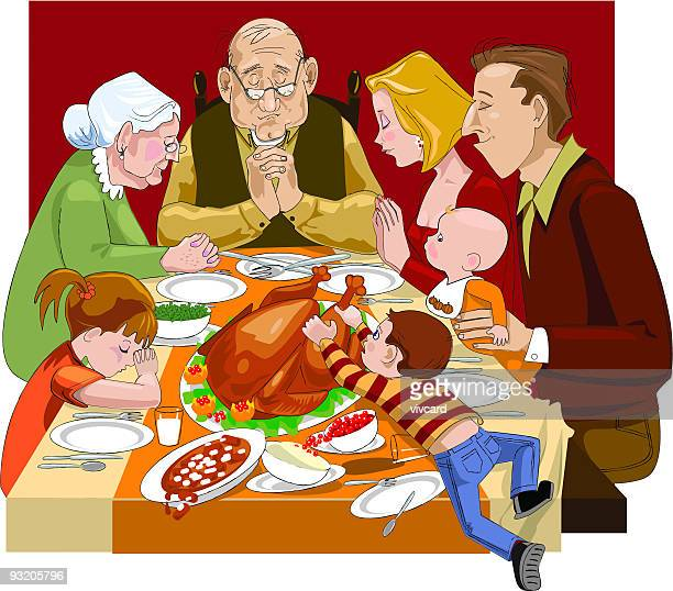ilustraciones, imágenes clip art, dibujos animados e iconos de stock de celebración del día de acción de gracias de oración - comer