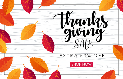 Thanksgiving Sale Horizontal Banner - vector illustration - gettyimageskorea