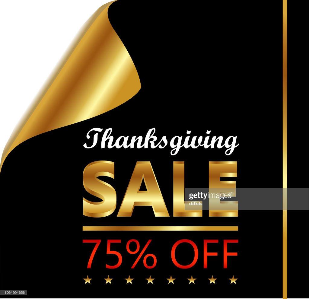 Thanksgiving Seventy Five Percent Sale On Golden Black Curled Luxury Paper : stock illustration